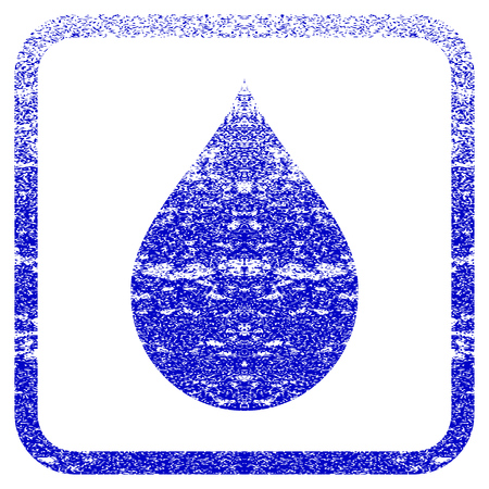 corrosion: Drop textured icon for overlay watermark stamps. Blue vectorized texture. Flat vector symbol with unclean design inside rounded square frame. Framed blue rubber seal stamp imitation.