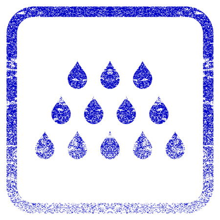corrosion: Drops textured icon for overlay watermark stamps. Blue vectorized texture. Flat vector symbol with dirty design inside rounded square frame. Framed blue rubber seal stamp imitation. Illustration