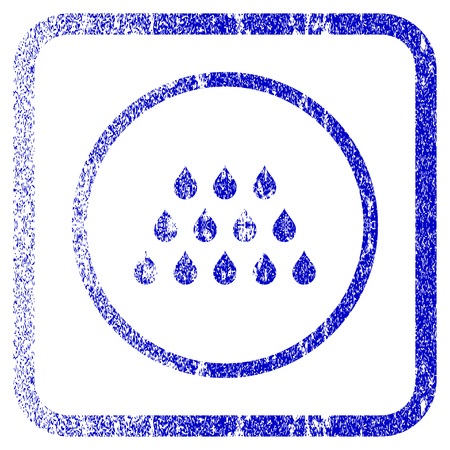 corroded: Drops textured icon for overlay watermark stamps. Blue vectorized texture. Flat vector symbol with unclean design inside rounded square frame. Framed blue rubber seal stamp imitation.