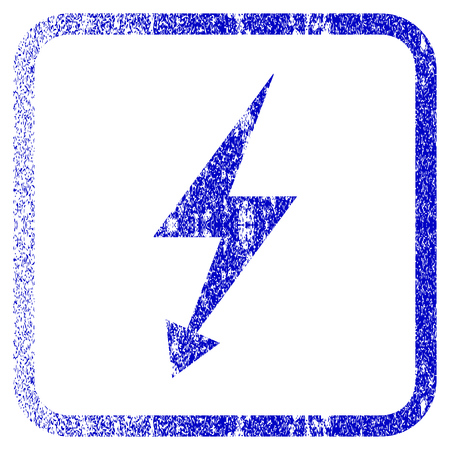 Electric Strike textured icon for overlay watermark stamps. Blue vectorized texture. Flat vector symbol with unclean design inside rounded square frame. Framed blue rubber seal stamp imitation.