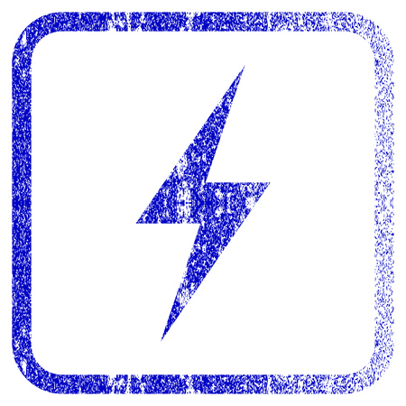 Electricity textured icon for overlay watermark stamps. Blue vectorized texture. Illustration