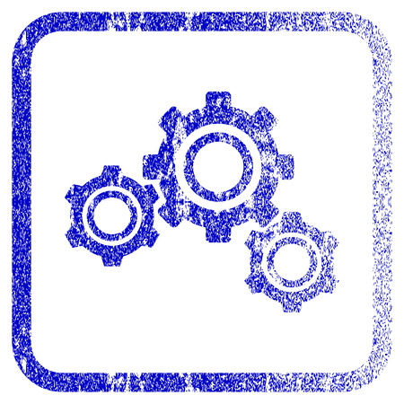 corrosion: Gears textured icon for overlay watermark stamps. Blue vectorized texture. Flat vector symbol with unclean design inside rounded square frame. Framed blue rubber seal stamp imitation.