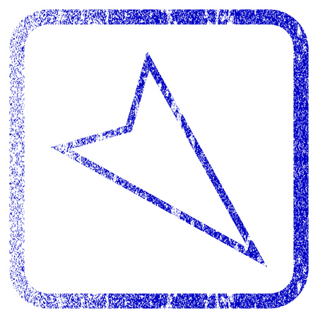penetrating: Pointer Right Down textured icon for overlay watermark stamps. Blue vectorized texture. Flat vector symbol with dirty design inside rounded square frame. Framed blue rubber seal stamp imitation. Illustration