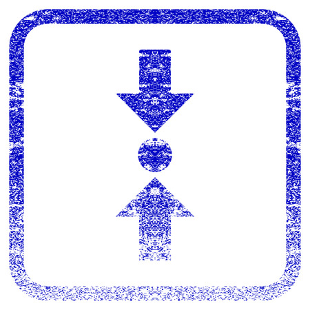 Pressure Vertical textured icon for overlay watermark stamps. Blue vectorized texture. Flat vector symbol with scratched design inside rounded square frame. Framed blue rubber seal stamp imitation.