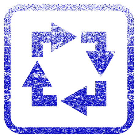 Recycle textured icon for overlay watermark stamps. Blue vectorized texture. Flat vector symbol with unclean design inside rounded square frame. Framed blue rubber seal stamp imitation.
