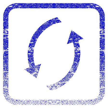 オーバーレイのウォーターマーク スタンプのテクスチャのアイコンを更新します。青いベクトル テクスチャ。丸みを帯びた正方形のフレームの中の