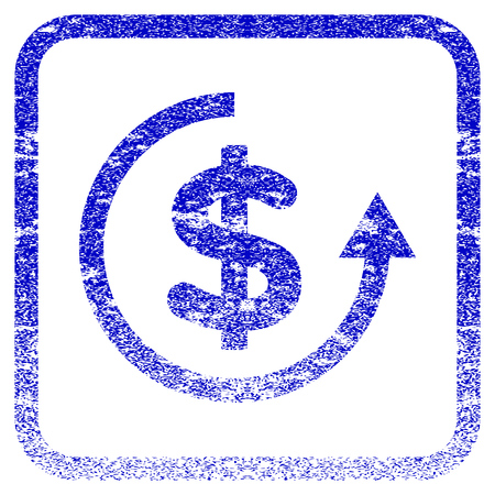 reverse: Refund textured icon for overlay watermark stamps. Blue vectorized texture. Flat vector symbol with unclean design inside rounded square frame. Framed blue rubber seal stamp imitation. Illustration