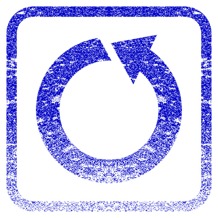 corrosion: Rotate CCW textured icon for overlay watermark stamps. Blue vectorized texture. Flat vector symbol with dirty design inside rounded square frame. Framed blue rubber seal stamp imitation.