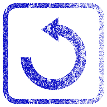 corroded: Rotate Left textured icon for overlay watermark stamps. Blue vectorized texture. Flat vector symbol with dust design inside rounded square frame. Framed blue rubber seal stamp imitation. Illustration