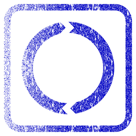 corroded: Rotation textured icon for overlay watermark stamps. Blue vectorized texture. Flat vector symbol with unclean design inside rounded square frame. Framed blue rubber seal stamp imitation. Illustration