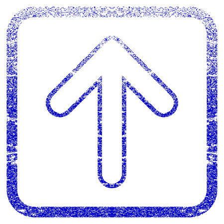 penetrating: Rounded Arrow Up textured icon for overlay watermark stamps. Blue vectorized texture. Flat vector symbol with dust design inside rounded square frame. Framed blue rubber seal stamp imitation.