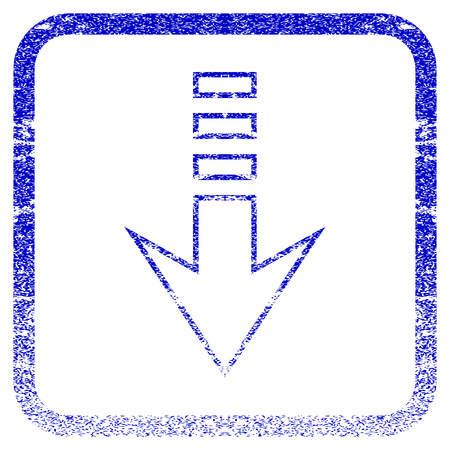 corroded: Send Down textured icon for overlay watermark stamps. Blue vectorized texture. Flat vector symbol with dirty design inside rounded square frame. Framed blue rubber seal stamp imitation.