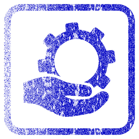 corrosion: Service textured icon for overlay watermark stamps. Blue vectorized texture. Flat vector symbol with dirty design inside rounded square frame. Framed blue rubber seal stamp imitation.