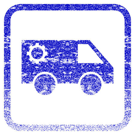 corroded: Service Car textured icon for overlay watermark stamps. Blue vectorized texture. Flat vector symbol with scratched design inside rounded square frame. Framed blue rubber seal stamp imitation. Illustration