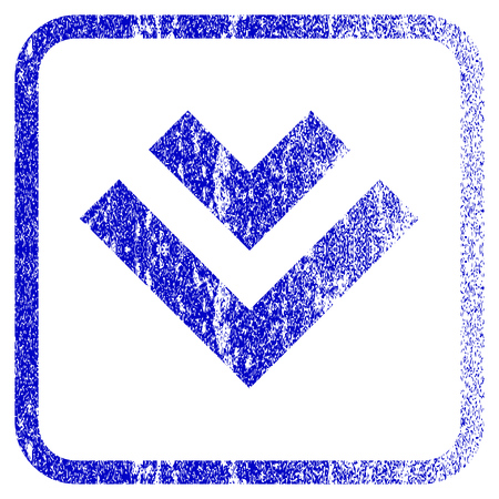 corrosion: Shift Down textured icon for overlay watermark stamps. Blue vectorized texture. Flat vector symbol with dirty design inside rounded square frame. Framed blue rubber seal stamp imitation. Illustration