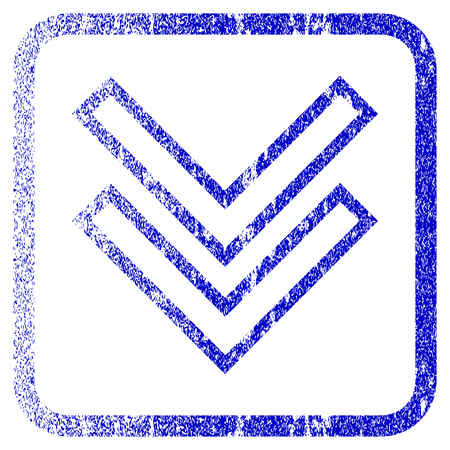 corroded: Shift Down textured icon for overlay watermark stamps. Blue vectorized texture. Flat vector symbol with scratched design inside rounded square frame. Framed blue rubber seal stamp imitation.