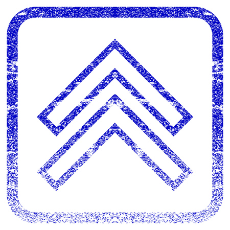 penetrating: Shift Up textured icon for overlay watermark stamps. Blue vectorized texture. Flat vector symbol with unclean design inside rounded square frame. Framed blue rubber seal stamp imitation.