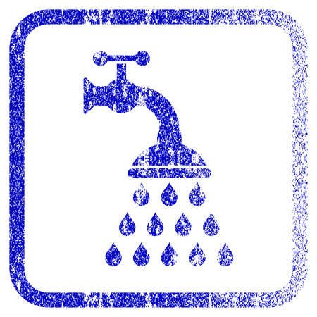 corrosion: Shower Tap textured icon for overlay watermark stamps. Blue vectorized texture. Flat vector symbol with dust design inside rounded square frame. Framed blue rubber seal stamp imitation. Illustration