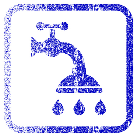 corroded: Shower Tap textured icon for overlay watermark stamps. Blue vectorized texture. Flat vector symbol with dirty design inside rounded square frame. Framed blue rubber seal stamp imitation. Illustration