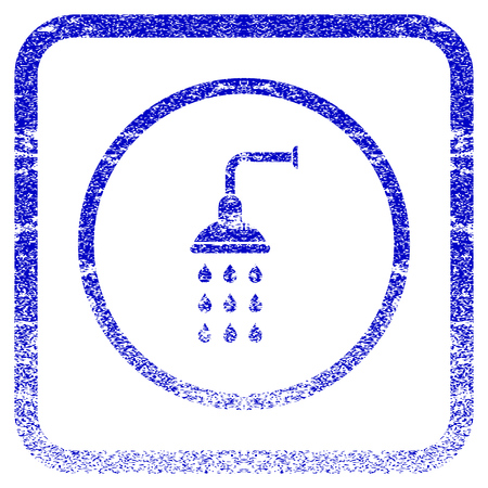 corroded: Shower textured icon for overlay watermark stamps. Blue vectorized texture. Flat vector symbol with dust design inside rounded square frame. Framed blue rubber seal stamp imitation.