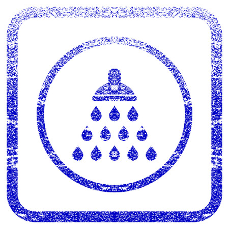 corrosion: Shower textured icon for overlay watermark stamps. Blue vectorized texture. Flat vector symbol with dirty design inside rounded square frame. Framed blue rubber seal stamp imitation.