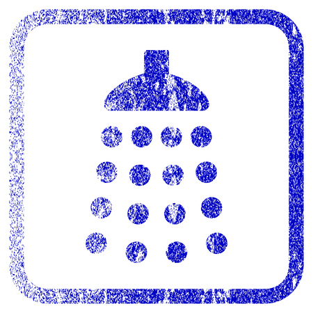 corroded: Shower textured icon for overlay watermark stamps. Blue vectorized texture. Flat vector symbol with scratched design inside rounded square frame. Framed blue rubber seal stamp imitation. Illustration