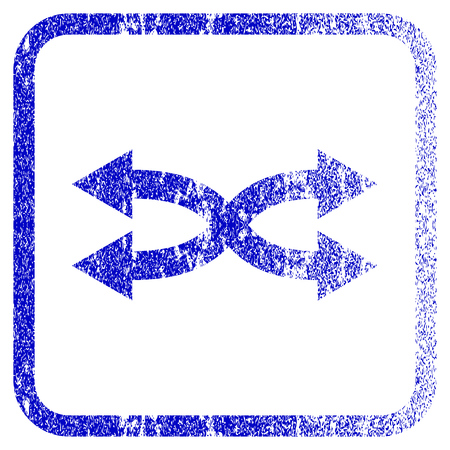 shuffle: Shuffle Arrows Horizontal textured icon for overlay watermark stamps. Blue vectorized texture. Flat vector symbol with unclean design inside rounded square frame.