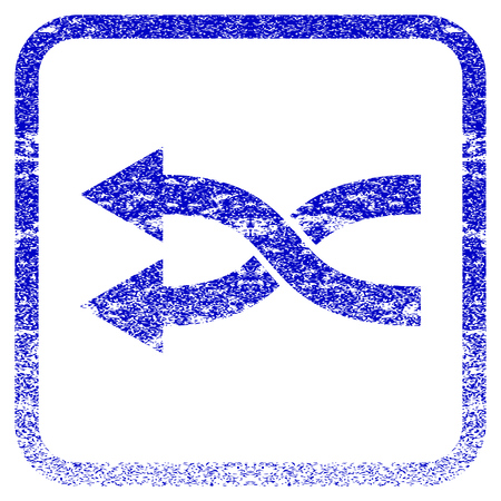 corroded: Shuffle Arrows Left textured icon for overlay watermark stamps. Blue vectorized texture. Flat vector symbol with unclean design inside rounded square frame. Framed blue rubber seal stamp imitation.