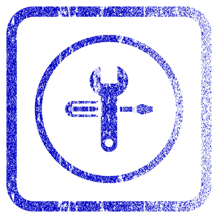 Tuning textured icon for overlay watermark stamps. Blue vectorized texture. Flat vector symbol with scratched design inside rounded square frame. Framed blue rubber seal stamp imitation.
