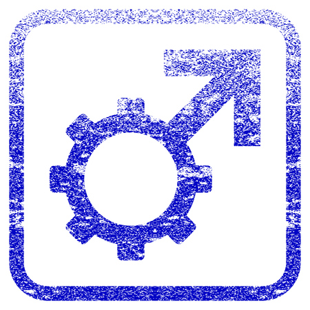 Technological Potence textured icon for overlay watermark stamps. Blue vectorized texture. Flat vector symbol with scratched design inside rounded square frame.