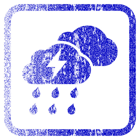 corroded: Thunderstorm Clouds textured icon for overlay watermark stamps. Blue vectorized texture. Flat vector symbol with dust design inside rounded square frame. Framed blue rubber seal stamp imitation.