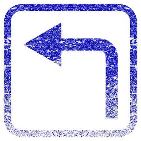 corrosion: Turn Left textured icon for overlay watermark stamps. Blue vectorized texture. Flat vector symbol with dust design inside rounded square frame. Framed blue rubber seal stamp imitation.
