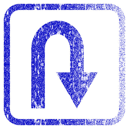 corroded: U Turn textured icon for overlay watermark stamps. Blue vectorized texture. Flat vector symbol with dirty design inside rounded square frame. Framed blue rubber seal stamp imitation.
