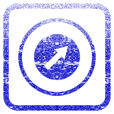 corrosion: Up-Right Rounded Arrow textured icon for overlay watermark stamps. Blue vectorized texture. Flat vector symbol with dirty design inside rounded square frame. Framed blue rubber seal stamp imitation.