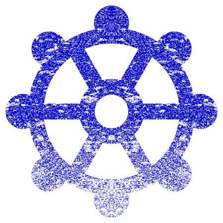 corroded: Cog textured icon for overlay watermark stamps. Blue vectorized texture. Flat vector symbol with dust design. Blue rubber seal stamp imitation.