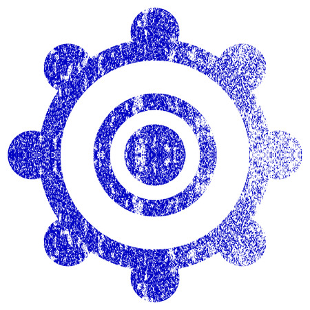 corrosion: Cog Wheel textured icon for overlay watermark stamps. Blue vectorized texture. Flat vector symbol with dust design. Blue rubber seal stamp imitation.
