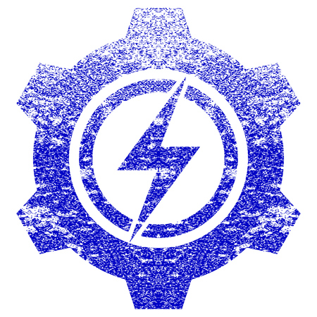 Electric Cogwheel textured icon for overlay watermark stamps. Blue vectorized texture. Flat vector symbol with unclean design. Blue rubber seal stamp imitation. Illustration