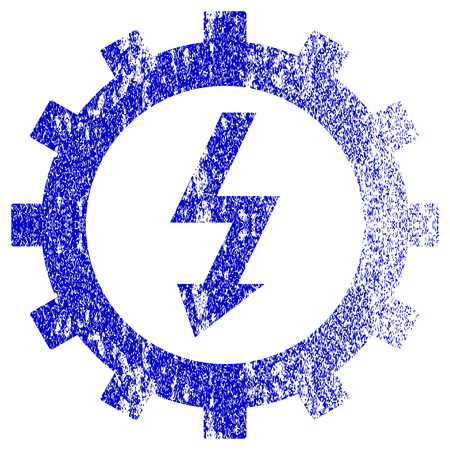 Electric Energy Cog Wheel textured icon for overlay watermark stamps. Blue vectorized texture. Flat vector symbol with dust design. Blue rubber seal stamp imitation.