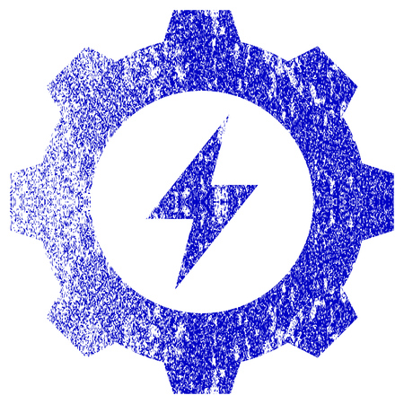 corroded: Electric Energy Gear textured icon for overlay watermark stamps. Blue vectorized texture. Flat vector symbol with scratched design. Blue rubber seal stamp imitation. Illustration