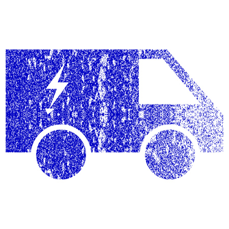 Electric Power Car textured icon for overlay watermark stamps. Blue vectorized texture. Flat vector symbol with dirty design. Blue rubber seal stamp imitation.