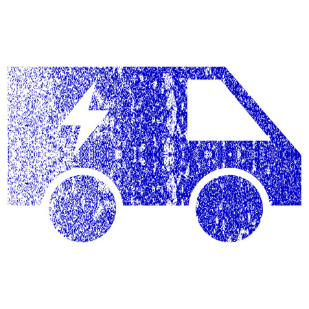 Electric Power Car textured icon for overlay watermark stamps. Blue vectorized texture. Flat vector symbol with dust design. Blue rubber seal stamp imitation.
