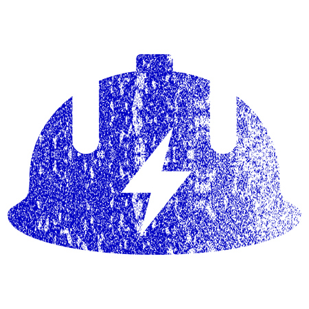 dangerous work: Electrician Helmet textured icon for overlay watermark stamps. Blue vectorized texture. Flat vector symbol with scratched design. Blue rubber seal stamp imitation.