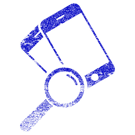 Find Smartphones textured icon for overlay watermark stamps. Blue vectorized texture. Flat vector symbol with dust design. Blue rubber seal stamp imitation. Illustration