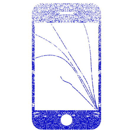 crunches: Smartphone Screen Cracks textured icon for overlay watermark stamps. Blue vectorized texture. Flat vector symbol with scratched design. Blue rubber seal stamp imitation. Illustration