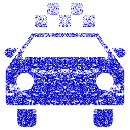 auto service: Taxi Automobile textured icon for overlay watermark stamps. Blue vectorized texture. Flat vector symbol with unclean design. Blue rubber seal stamp imitation.
