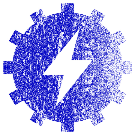 Electric Energy Gear Textured Icon For Overlay Watermark Stamps