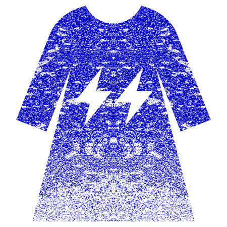 Electric Energy Girl Dress textured icon for overlay watermark stamps. Blue rasterized texture. Flat raster symbol with scratched design. Blue rubber seal stamp imitation. Stock Photo