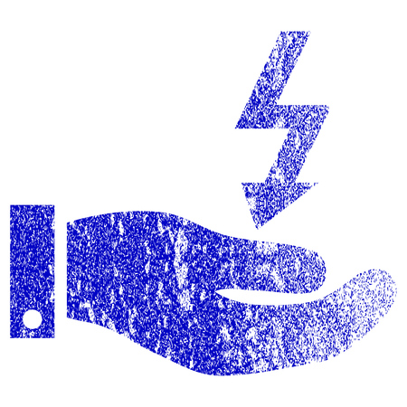 enforce: Electric Energy Service Hand textured icon for overlay watermark stamps. Blue rasterized texture. Flat raster symbol with unclean design. Blue rubber seal stamp imitation.