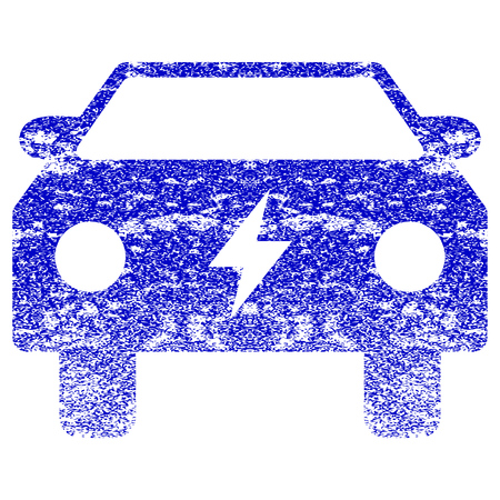 Electric Power Car textured icon for overlay watermark stamps. Blue rasterized texture. Flat raster symbol with dust design. Blue rubber seal stamp imitation.