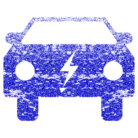 Electric Power Car textured icon for overlay watermark stamps. Blue rasterized texture. Flat raster symbol with scratched design. Blue rubber seal stamp imitation.